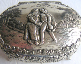 Vintage  Silver Plate Jewelry Box,Casket Box,Trinket Box,Made in Japan.Couple,Lover,Romance,Valentine's Day