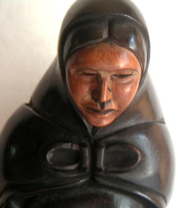 "Vintage Wood Sculpture ""Mara"" , La Paz Bolivia, 1978. Mother and Child"