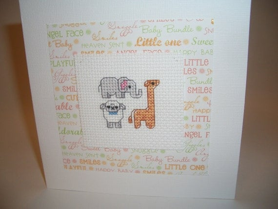 Cross Stitch Baby Card with Animals