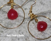 Hot Pink Chalcedony Brio's in Golden Hoops