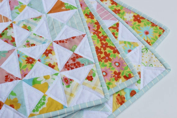 Baby Girl Quilt Hand Quilted Moda Dream On