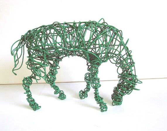 Unique Wire Horse Sculpture - GREEN HORSE