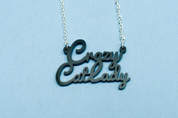 Crazy Cat Lady Necklace with  Silver-plated Chain