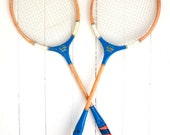 Vintage Rackets, Badminton Racquets, Flash Brand, Red and Blue, Preppy Decor, Pair of Rackets