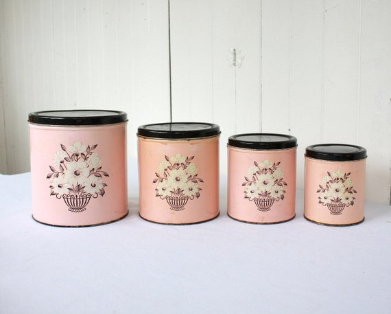 vintage pink canisters pink kitchen retro kitchen retro