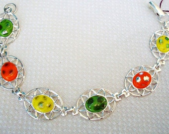 Handmade GLASS BRACELET - Psychedelic Peacock - Bright Colors - Vintage Glass Cabs, Silver Plate Setting, Yellow, Green, Orange, SALE!