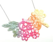 Lace Necklace Hand Painted - Lace Jewelry Green Pink Orange Yellow Ombre Flowers