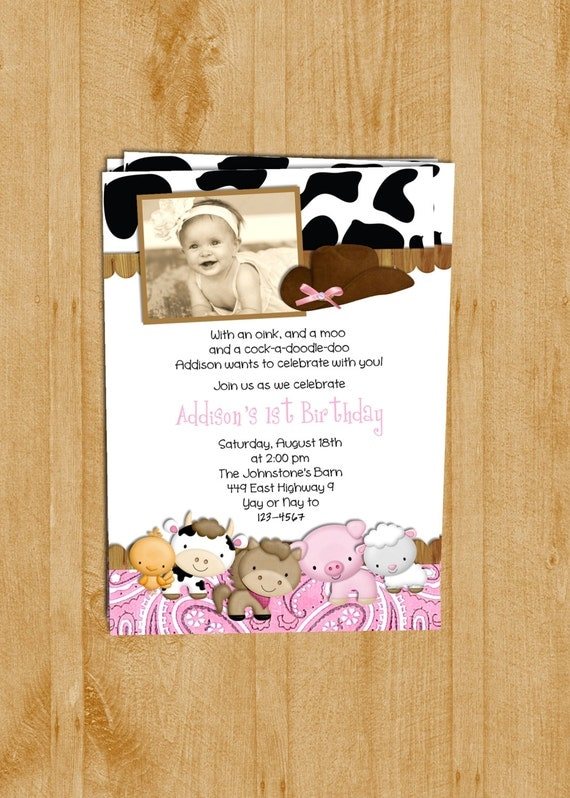 Farm Animals Girl Birthday Party Invitation Pink Paisley Photo Card Printable Invite
