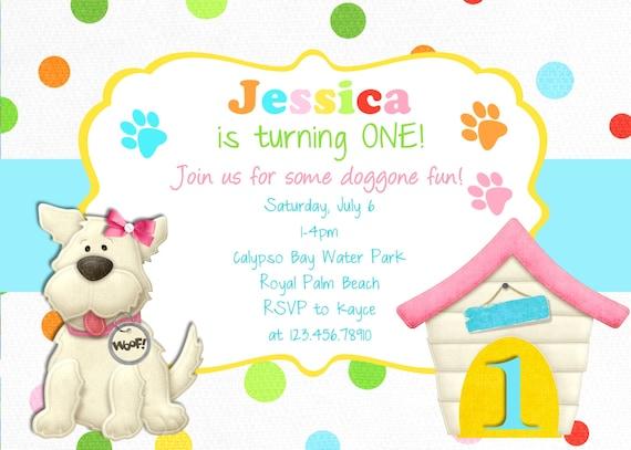 Puppy Birthday Invitation - Dog Party Puppy Printable Invitation