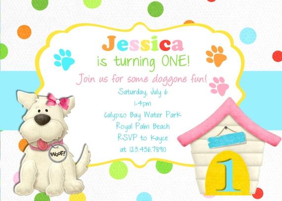 puppy birthday invitation dog party puppy printable, invitation samples