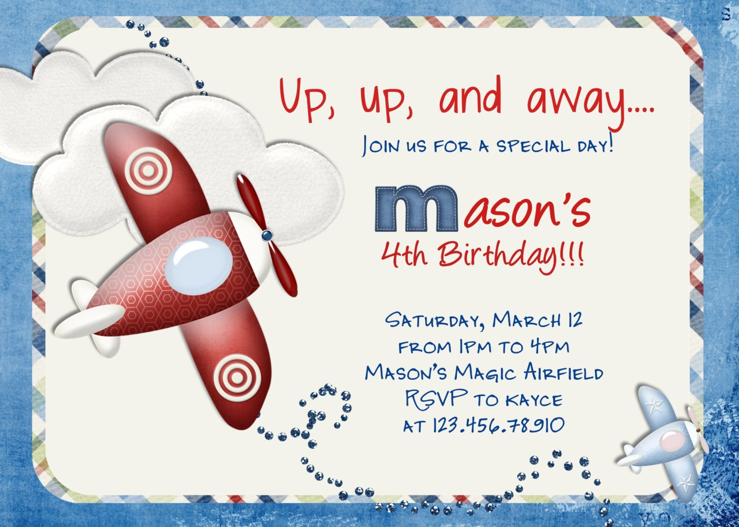Airplane Birthday Invitation Airplane Printable Airplane Party