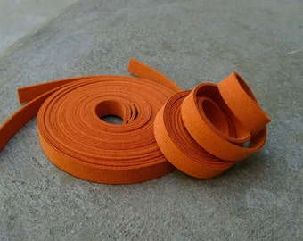 5 Yds(450 cm or 15Ft) Orange-5 of 900X10mm Faux Suede Lace Straps (FS10-18)