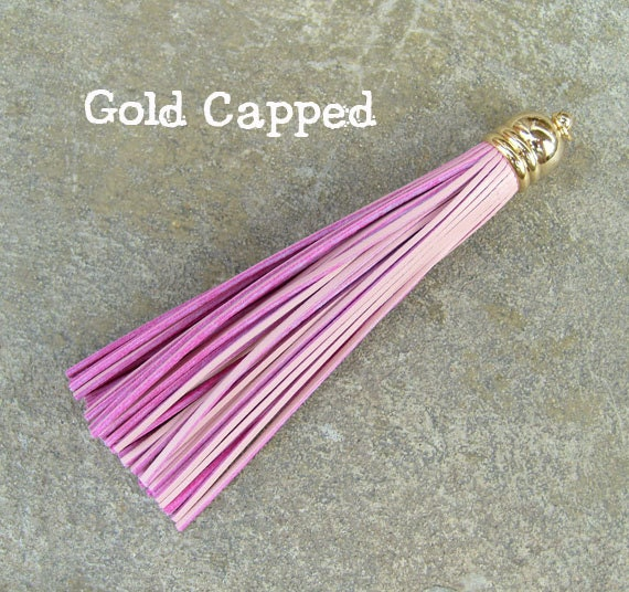 Indian Pink Cowhide TASSEL in Dome-shaped Gold Plated Cap with O-ring