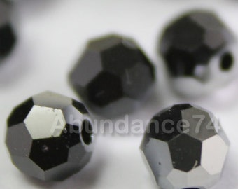 Limited Edition 24 pcs Swarovski Crystal 5000 Round Ball Beads 4mm Jet Metallic Silver ( 280 METSI )