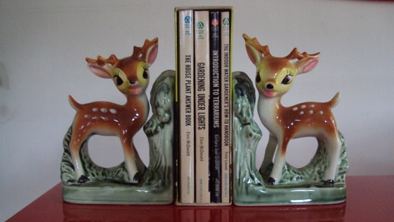Vintage Woodland Deer Rustic Kawaii Made In Japan Pottery Bambi Bookends