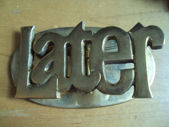 """Vintage 1970's BRASS Typography Expression """"Later"""" Office Paperweight/Clip"""