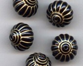Black Resin Lantern Beads With Gold Colored Trim - Statement Sized - Set of 6