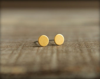 Tiniest Round Circle Earring Studs in Raw Brass - 5mm, Stainless Steel Posts