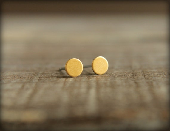 Tiniest Round Circle Earring Studs in Raw Brass or Raw Copper - 5mm, Stainless Steel Posts