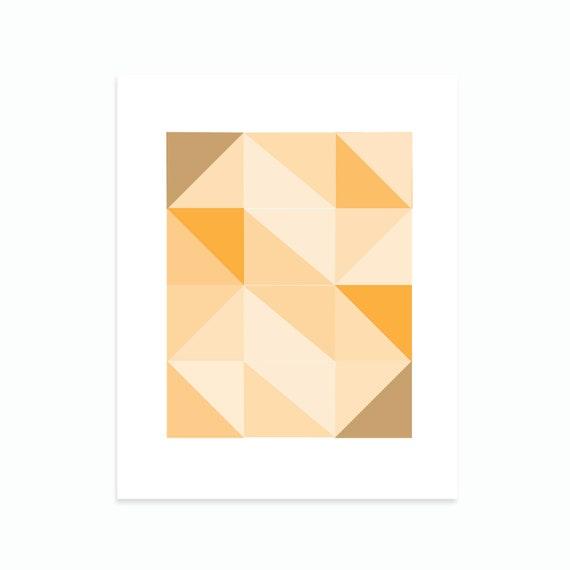 Geometric Abstract Art Wall Art Geometric Patterns Wall Art Orange home decor 8x10 Triangles Squares Art Print Monochrome Shades Of Orange