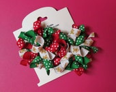 Hair Bow Set - Small Red and Green Gingerbread Korkers