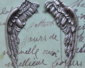 Dark Angel brass wings, left and right, WITH HOLE, Sterling silver finish