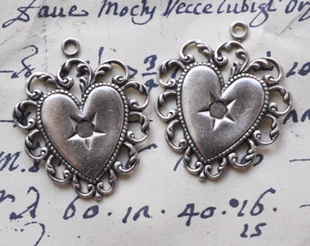 Two Brass Heart Charms, Sterling Silver Finish - Charms, Findings, Jewelry Supplies by Calliopes Attic