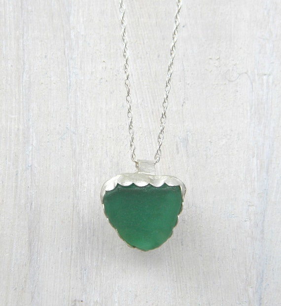 Sea Glass Necklace, Rare Teal Green Sea Glass Heart - Sterling Silver Jewelry Handmade