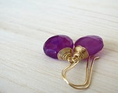 Earrings - Purple Earrings Grape Earrings - Chalcedony on 14kt Gold Filled Earrings
