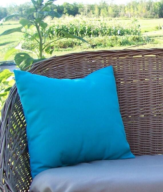 """Aruba Turquoise Indoor Outdoor Pillow Cover 16"""" Square Sunbrella"""