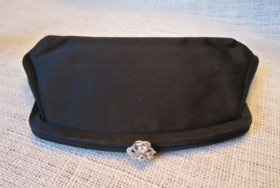 Vintage Black Satin Clutch Evening Bag with Bling Closure for Wedding Prom Black Tie