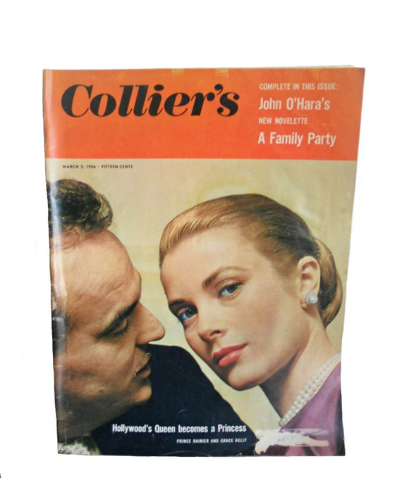 Vintage Collier's Magazine Grace Kelly and Prince Rainier - Hollywood's Queen Becomes a Princess - March 2, 1956