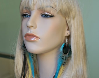 Feather Earrings, Long Feather Earrings - iridicent turquoise, yellow, blue, teal, brown Metz Whiting feathers