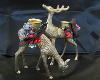 Brass Deer Buck & Doe Christmas in July Candleholders retro decorations Table or Buffet wear retro classic