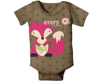 Pink Fox Bodysuit, Personalized Baby Girl One-Piece Outfit