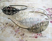 4 Vintage Filigree Antique Brass Blank Metal Headbands 35x78mm   ---you choose the color and how many---