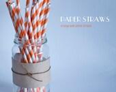 25 Orange and White Striped Paper Straws - Standard 7.75'' / 19.68cm