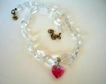 Gemstone necklace, Crystal Quartz semiprecious stones necklace,  Swarovski crystal heart  pendant.
