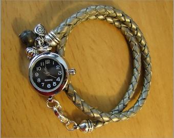 women wrist watch leather and gemstone gray