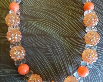 Peaches and Cream Beaded Necklace    Jewelry   Beads    Peach Necklace T1033