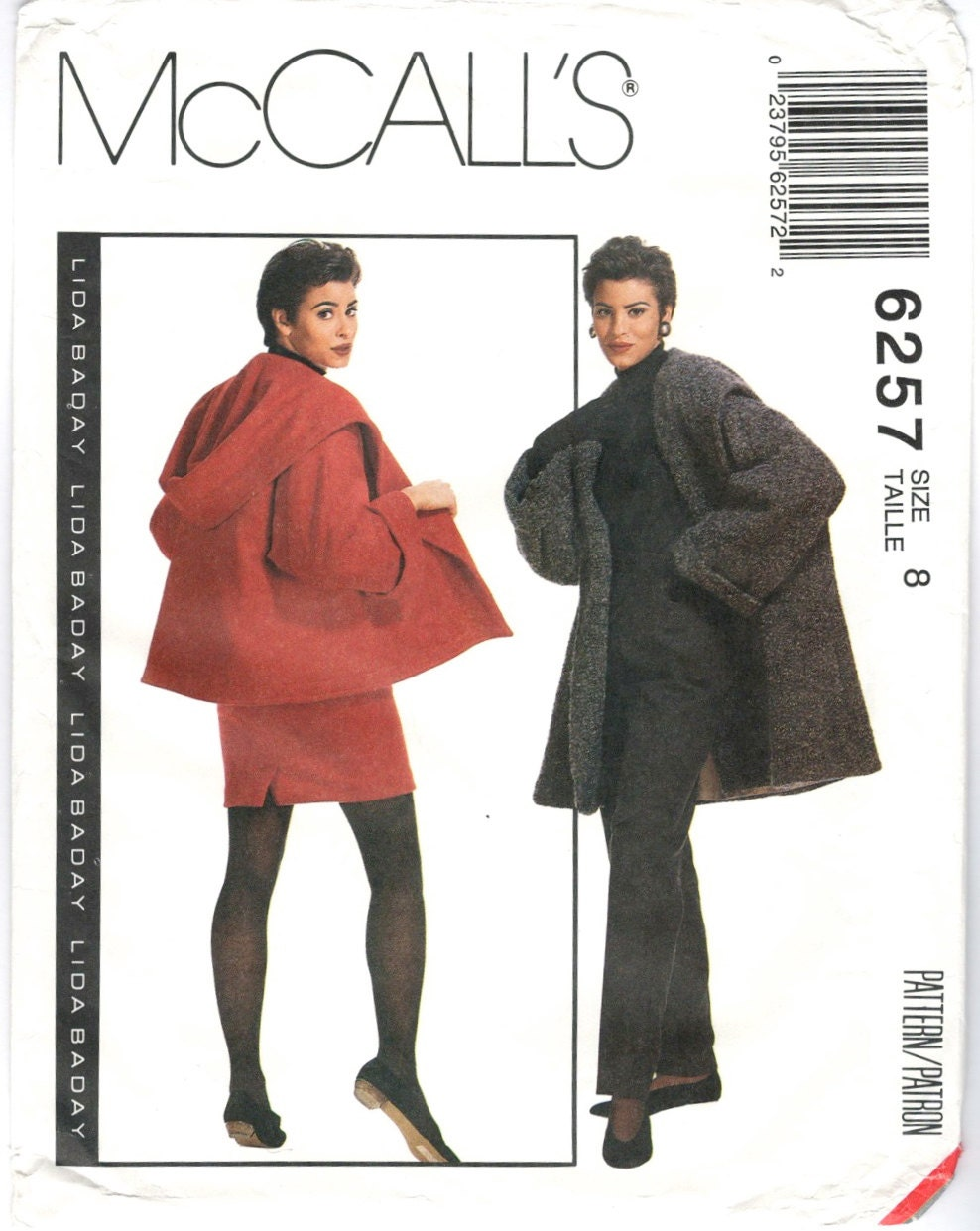 1990s Lida Baday coat, jacket, skirt and pants pattern - McCall's 6257