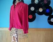 1970s Red Mandarin Collar Blouse