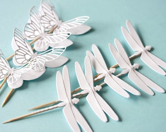 white paper cupcake toppers with butterflies and dragonflies wedding baby shower party christmas