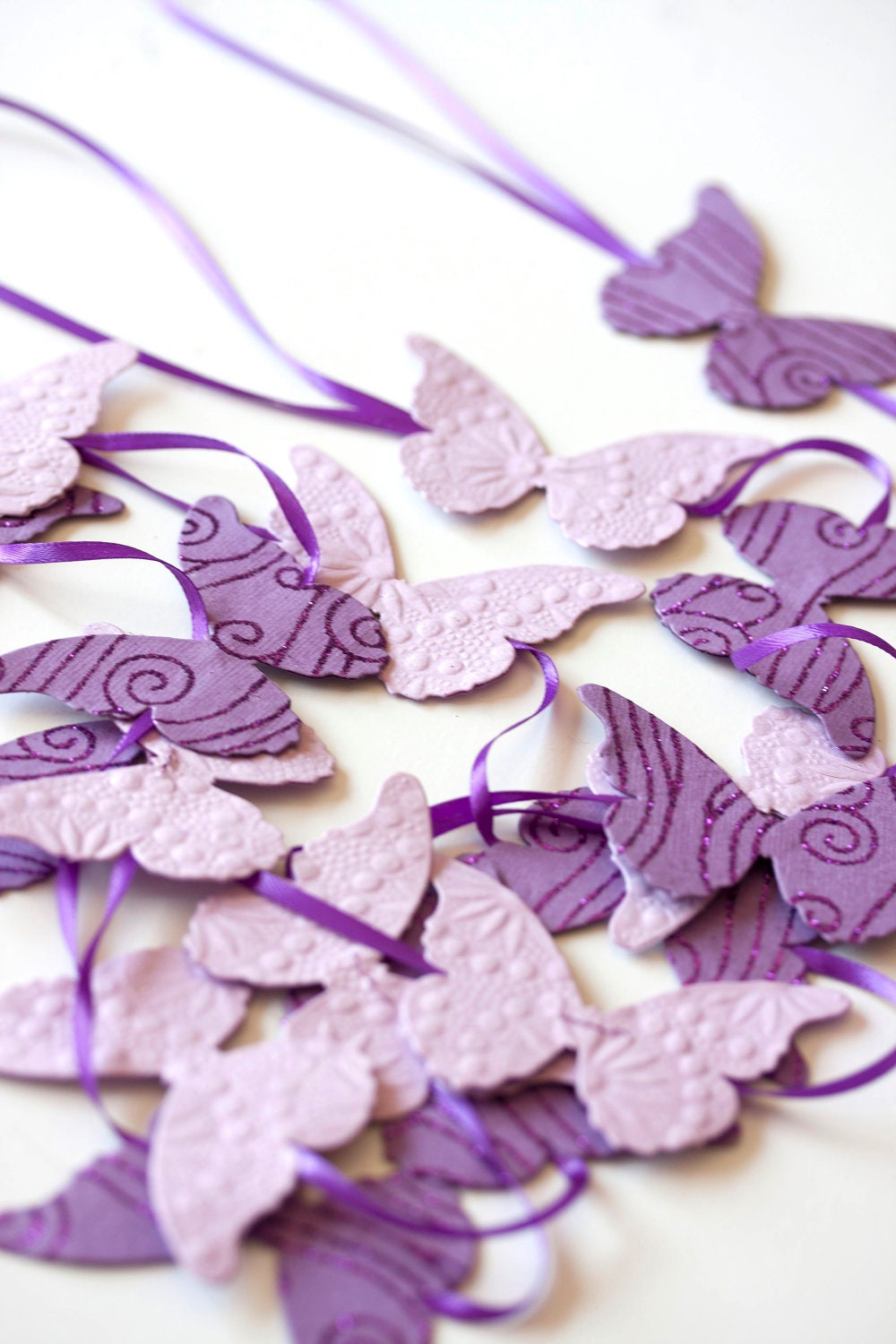 feet purple lavender butterfly garland on ribbon party