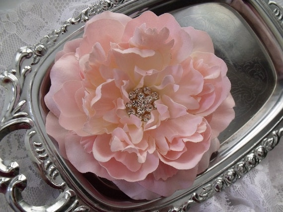 TRINITY - Victorian Pale Blush Light Pink Bridal Hair Flower Peony- Rhinestone Center - Alligator Clip or Brooch Pin