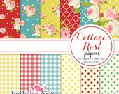 Cottage Rose shabby chic digital paper set
