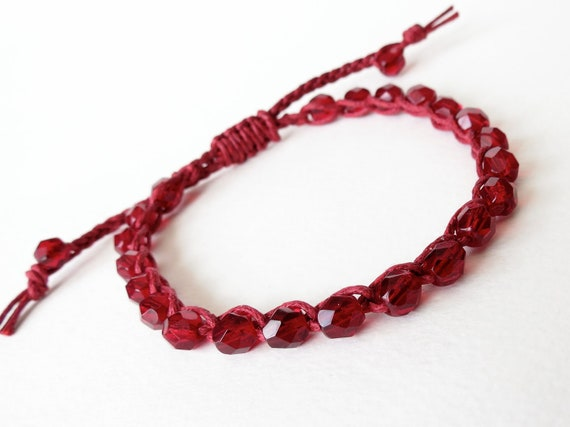 2 in 1 bracelet / anklet, ruby red bohemian BFF friendship bracelet / anklet for stacking & layering, surfer style, sliding knot