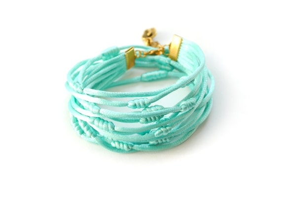 Double wrap mint bracelet, mint and gold bracelet, charm bracelet, knotted bracelet, satin cord bracelet, rope jewelry