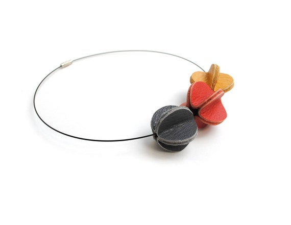 Genuine Leather Beads Necklace, Goldenrod, Red and Grey on Black Wire, Autumn, Choker, Geometric, Abstract