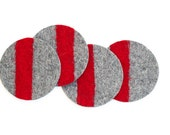 Felt Coasters, Industrial Felt, Gray and Red, Set of 4